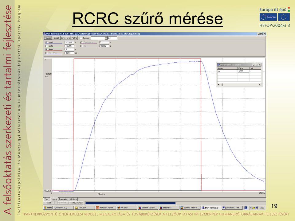 RCRC szűrő mérése