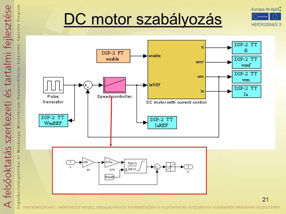 DC motor szabályozás