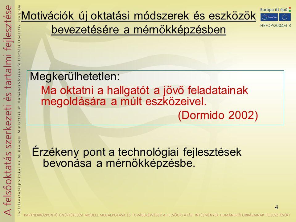 Motivációk új oktatási módszerek és eszközök bevezetésére a mérnökképzésben
