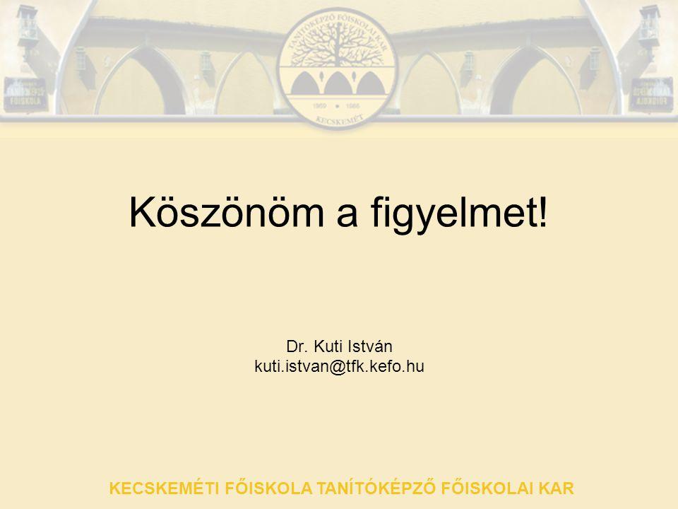Köszönöm a figyelmet! Dr. Kuti István kuti.istvan@tfk.kefo.hu