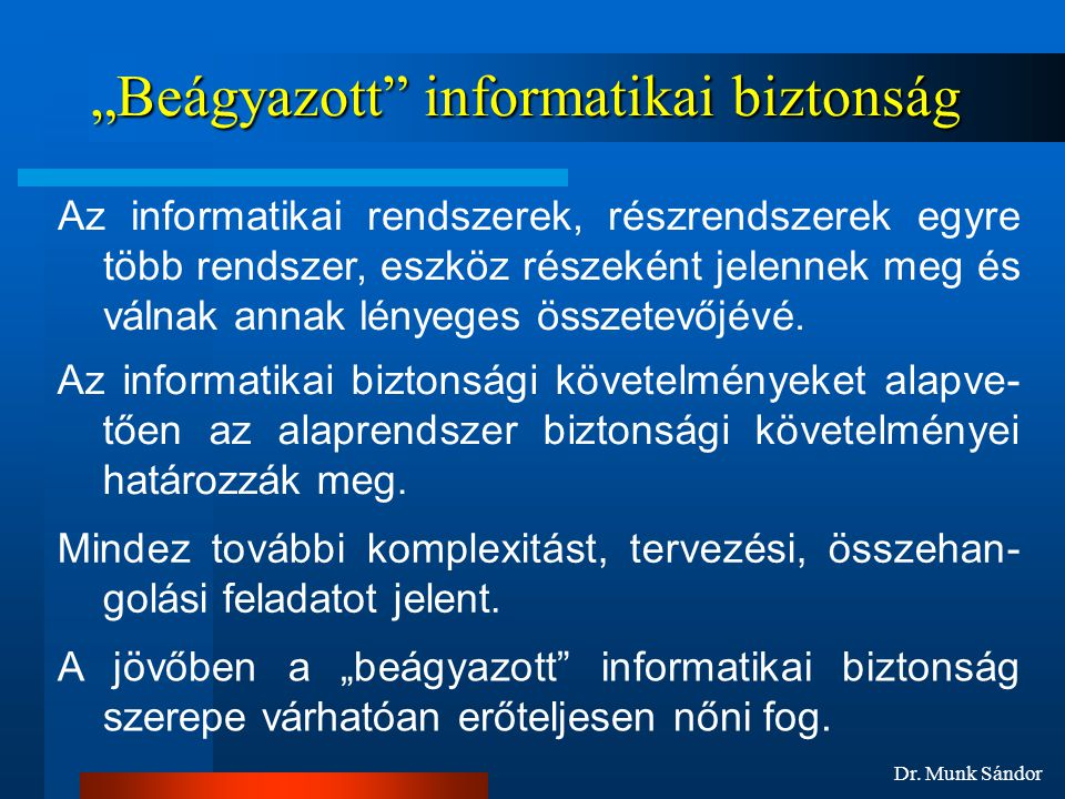 """""""Beágyazott informatikai biztonság"""