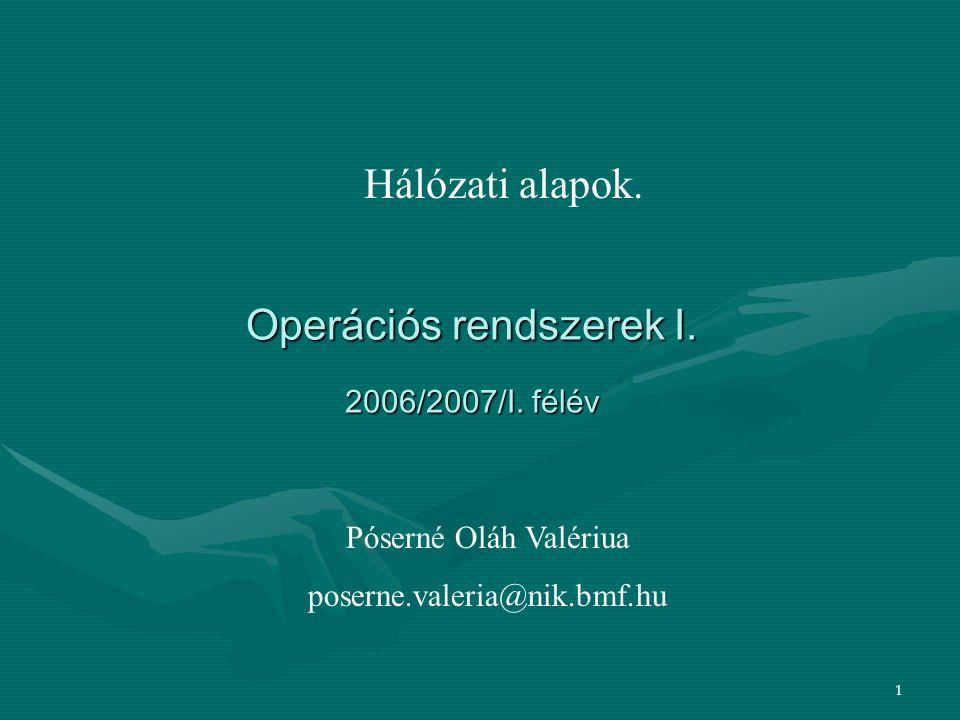 Operációs rendszerek I. 2006/2007/I. félév
