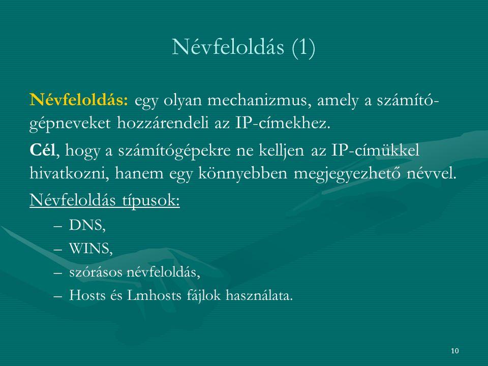Névfeloldás (1) Névfeloldás: egy olyan mechanizmus, amely a számító-gépneveket hozzárendeli az IP-címekhez.