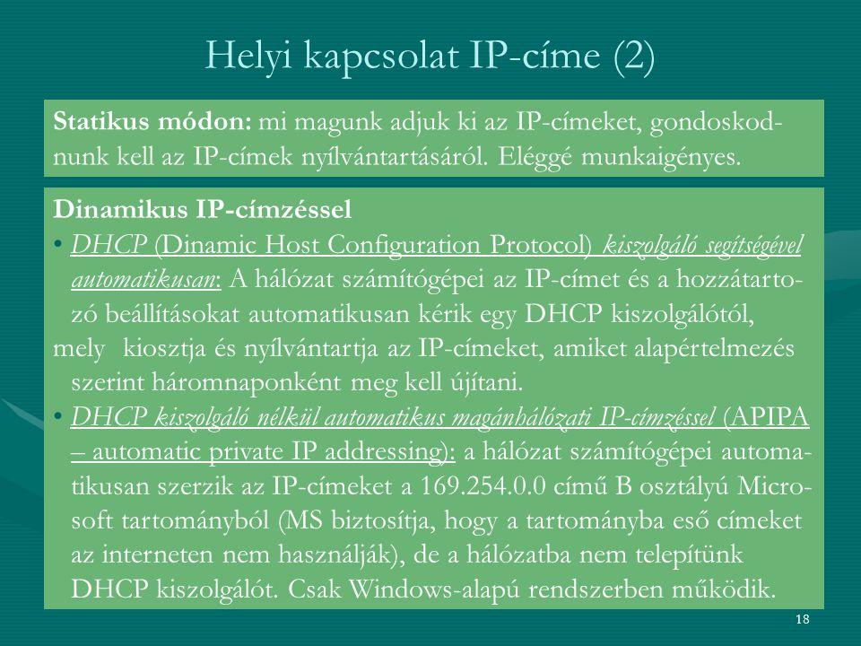 Helyi kapcsolat IP-címe (2)