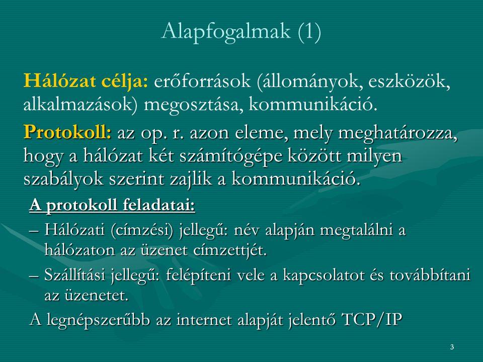Alapfogalmak (1) Hálózat célja: erőforrások (állományok, eszközök, alkalmazások) megosztása, kommunikáció.