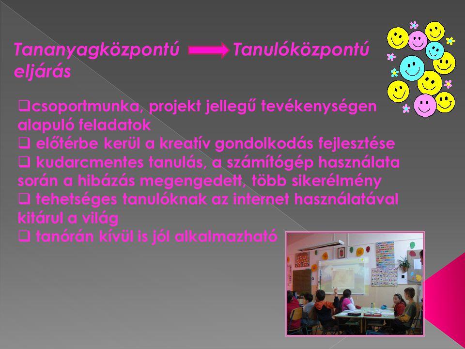 Tananyagközpontú Tanulóközpontú eljárás