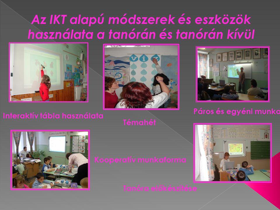 Az IKT alapú módszerek és eszközök használata a tanórán és tanórán kívül