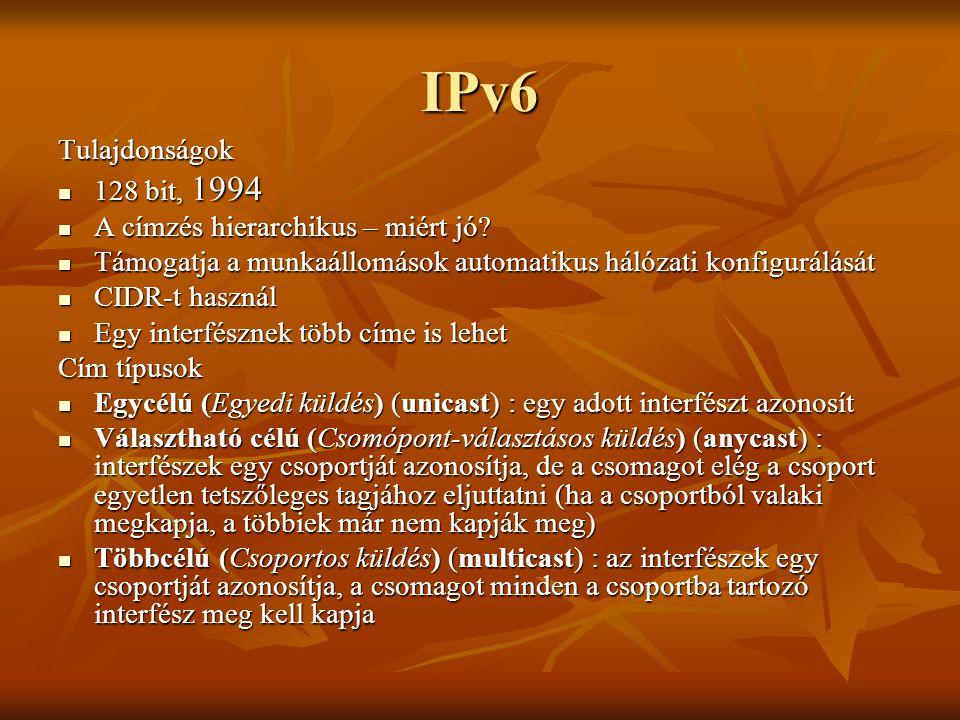 IPv6 Tulajdonságok 128 bit, 1994 A címzés hierarchikus – miért jó