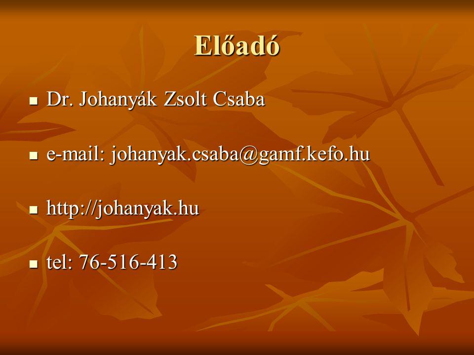 Előadó Dr. Johanyák Zsolt Csaba e-mail: johanyak.csaba@gamf.kefo.hu