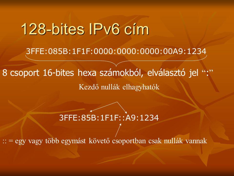 128-bites IPv6 cím 3FFE:085B:1F1F:0000:0000:0000:00A9:1234. 8 csoport 16-bites hexa számokból, elválasztó jel :