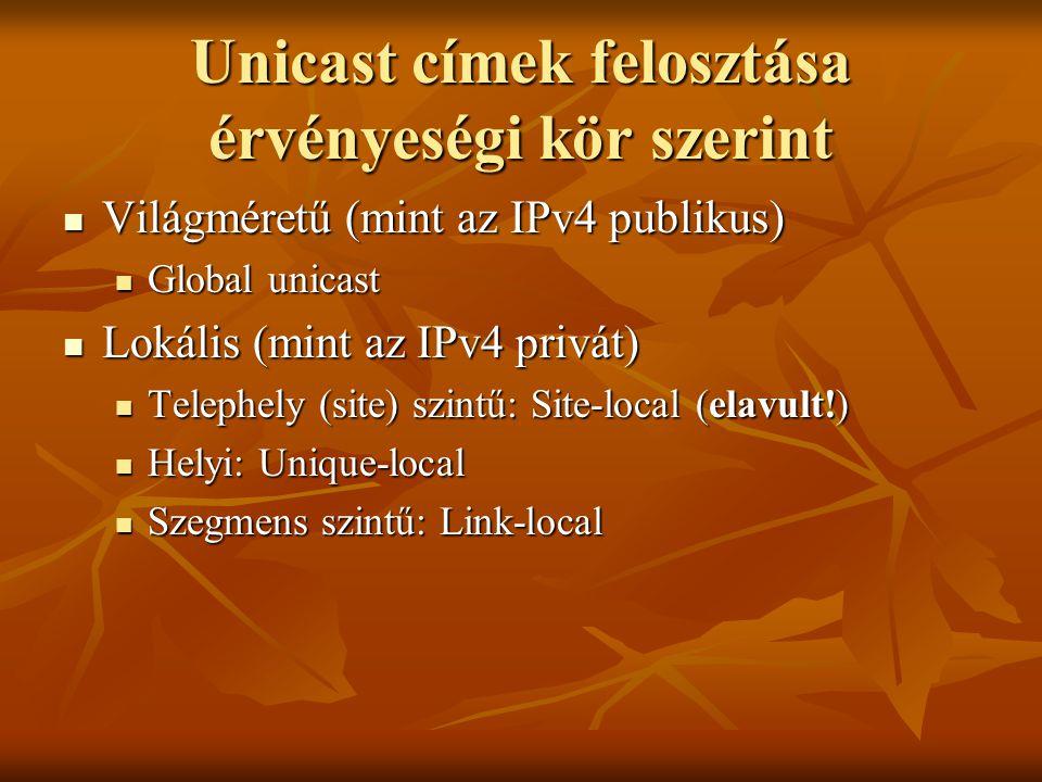 Unicast címek felosztása érvényeségi kör szerint
