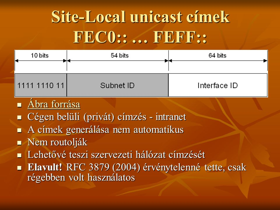 Site-Local unicast címek FEC0:: … FEFF::