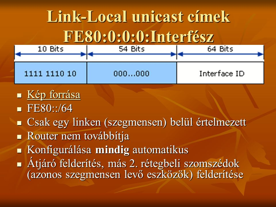 Link-Local unicast címek FE80:0:0:0:Interfész