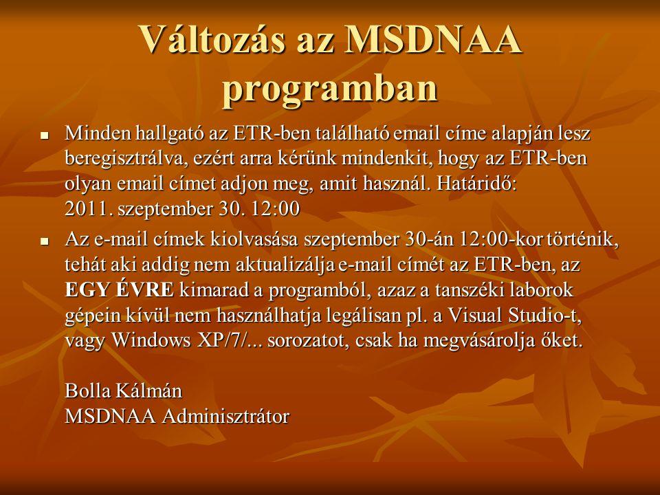 Változás az MSDNAA programban