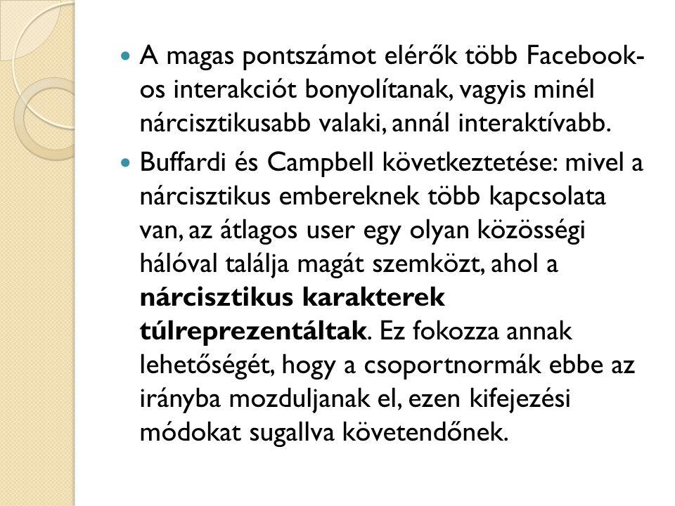 A magas pontszámot elérők több Facebook- os interakciót bonyolítanak, vagyis minél nárcisztikusabb valaki, annál interaktívabb.