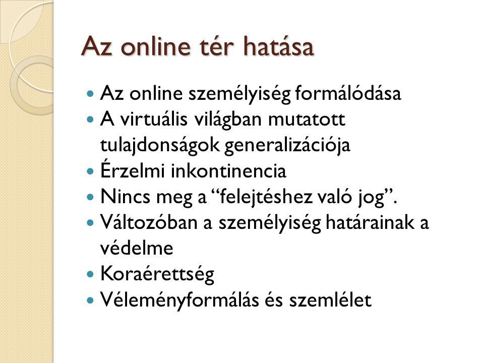 Az online tér hatása Az online személyiség formálódása