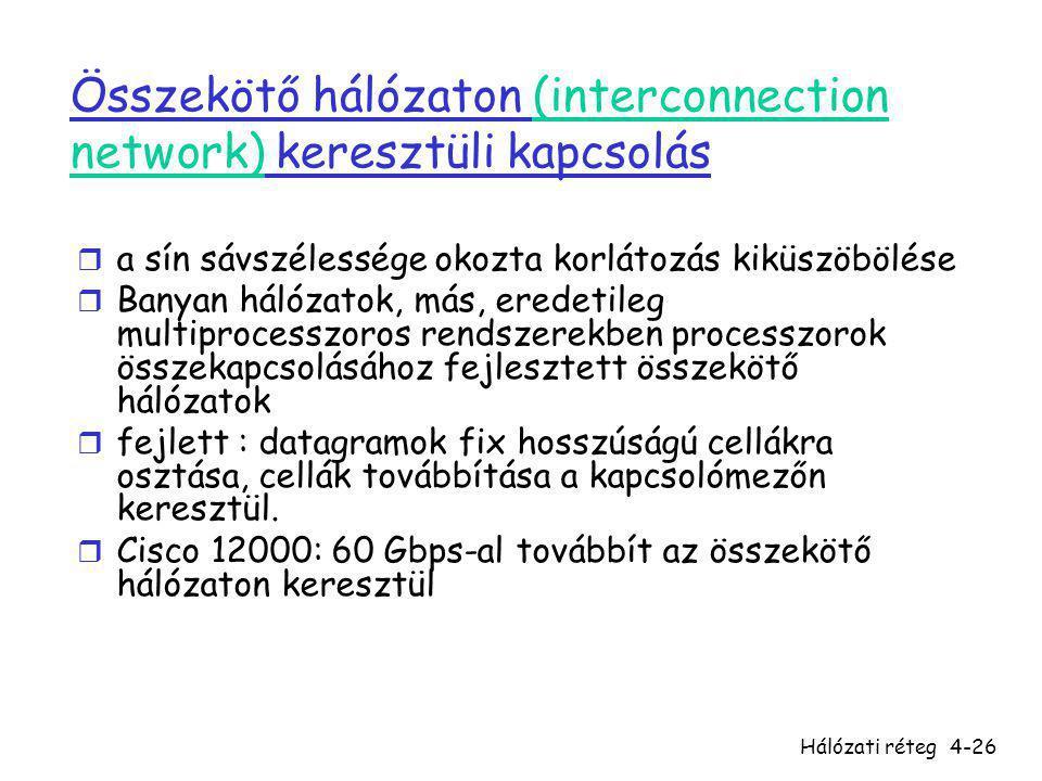 Összekötő hálózaton (interconnection network) keresztüli kapcsolás