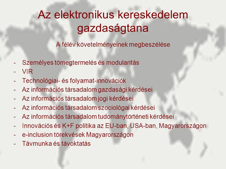 Az elektronikus kereskedelem gazdaságtana