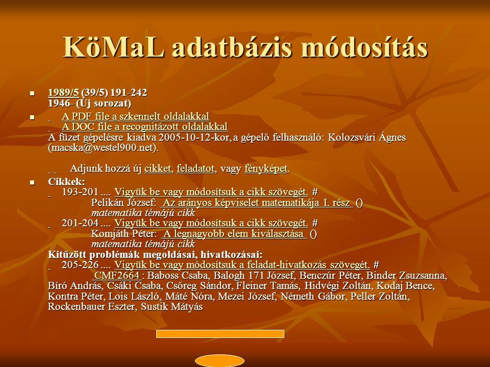 KöMaL adatbázis módosítás