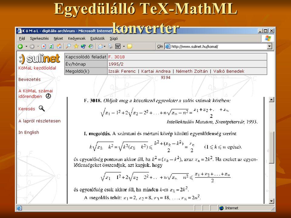 Egyedülálló TeX-MathML konverter