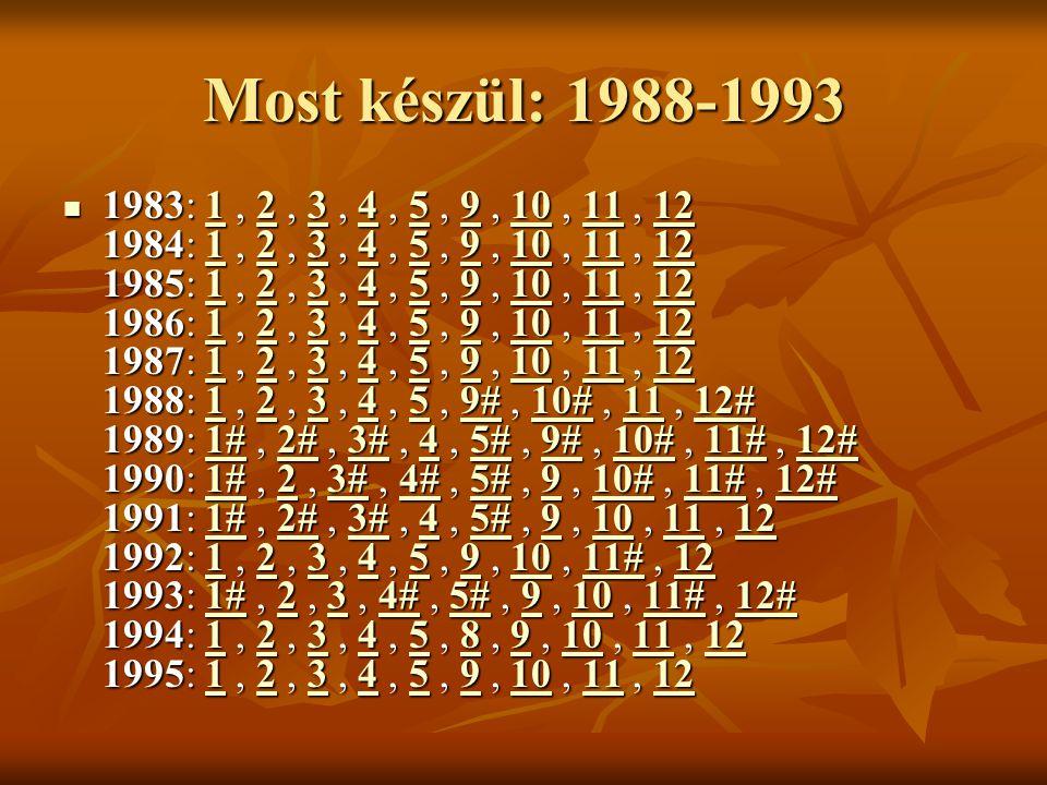 Most készül: 1988-1993