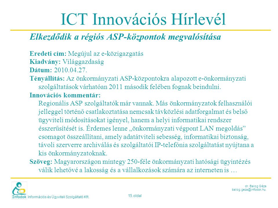ICT Innovációs Hírlevél