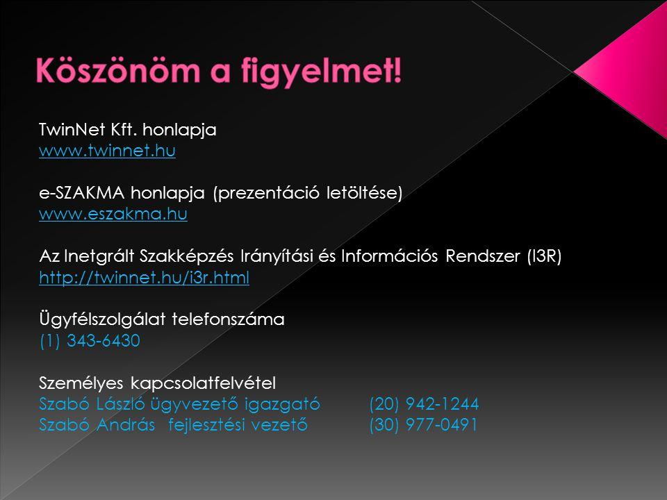 Köszönöm a figyelmet! TwinNet Kft. honlapja www.twinnet.hu