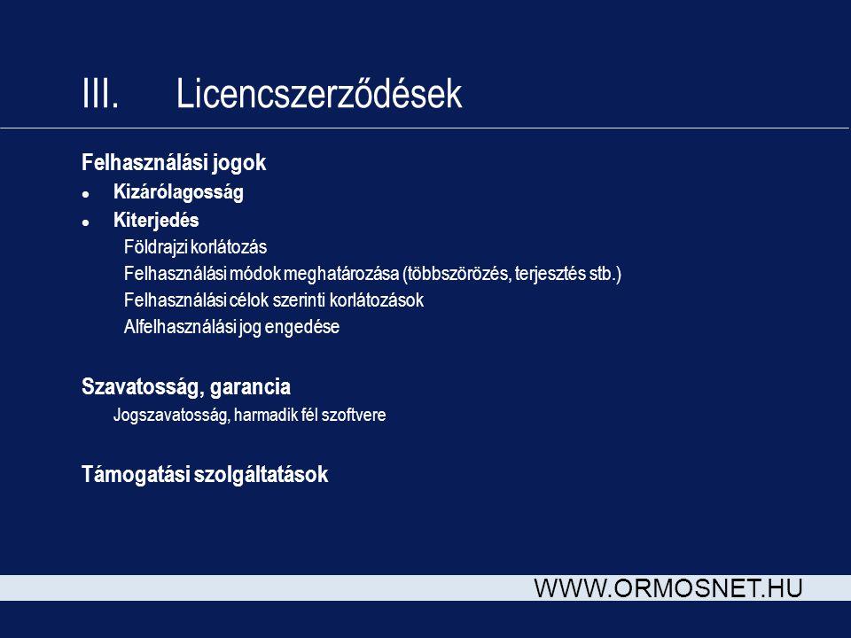 III. Licencszerződések