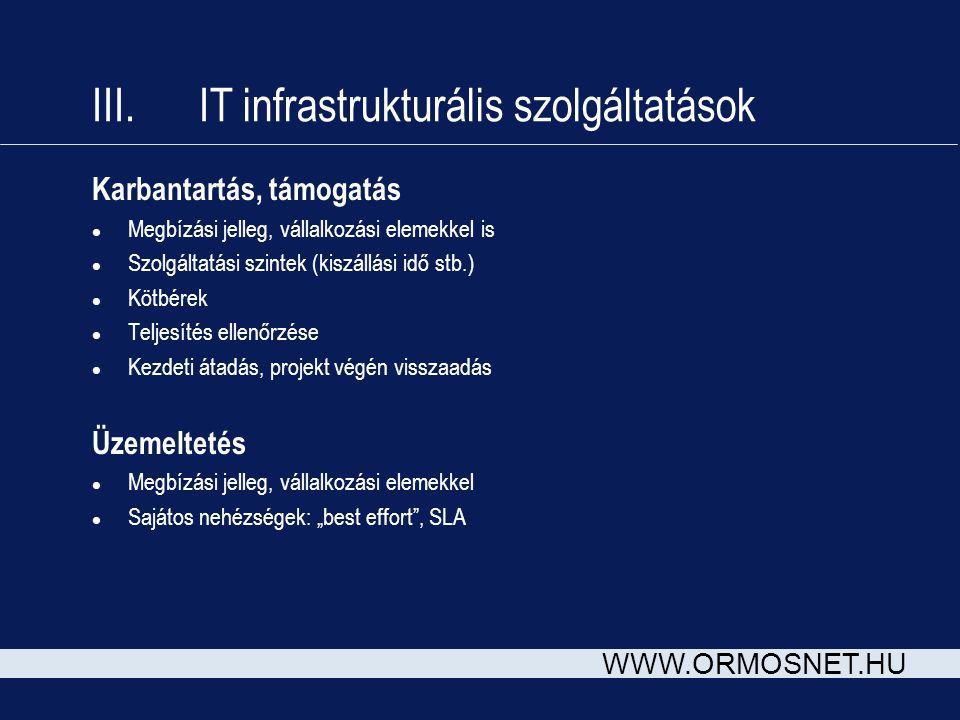 III. IT infrastrukturális szolgáltatások