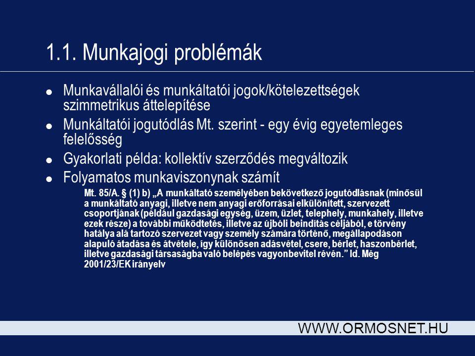 1.1. Munkajogi problémák Munkavállalói és munkáltatói jogok/kötelezettségek szimmetrikus áttelepítése.