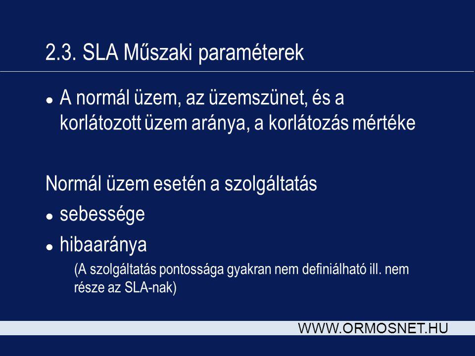 2.3. SLA Műszaki paraméterek