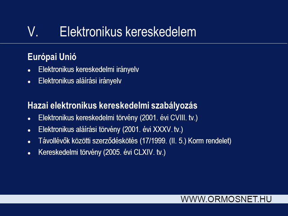 V. Elektronikus kereskedelem