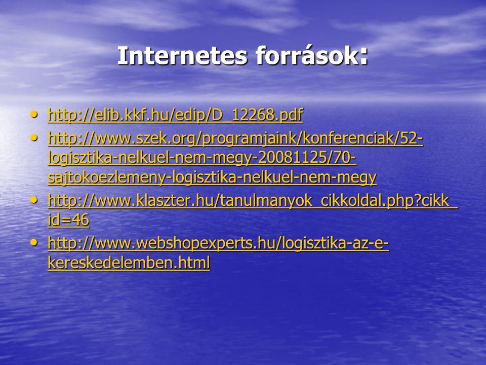 Internetes források: http://elib.kkf.hu/edip/D_12268.pdf