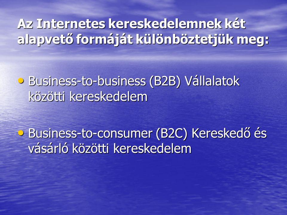 Az Internetes kereskedelemnek két alapvető formáját különböztetjük meg: