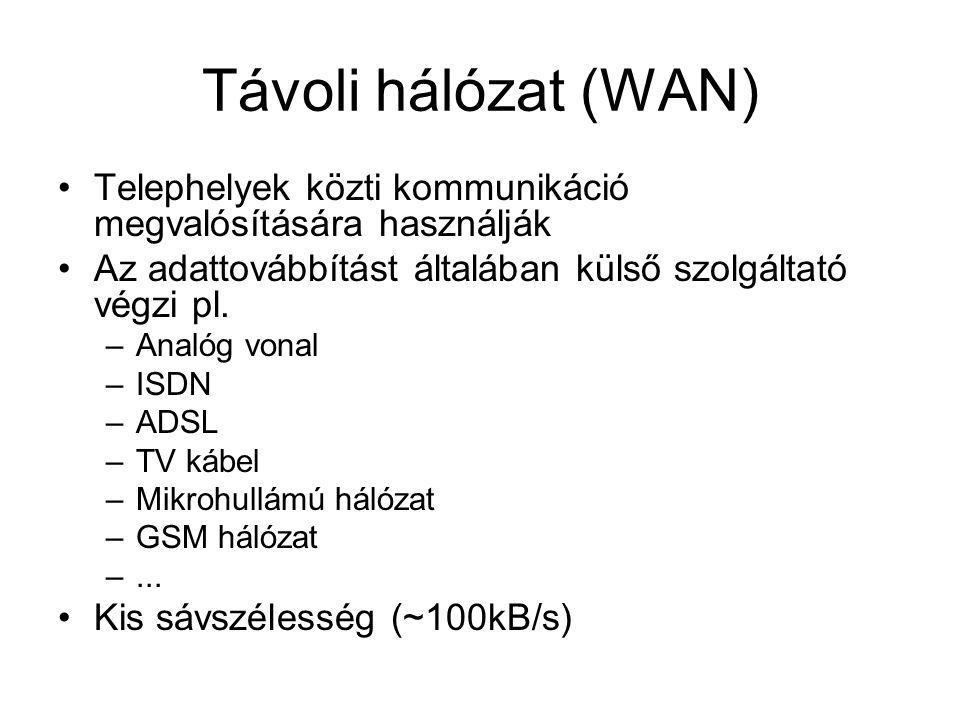 Távoli hálózat (WAN) Telephelyek közti kommunikáció megvalósítására használják. Az adattovábbítást általában külső szolgáltató végzi pl.