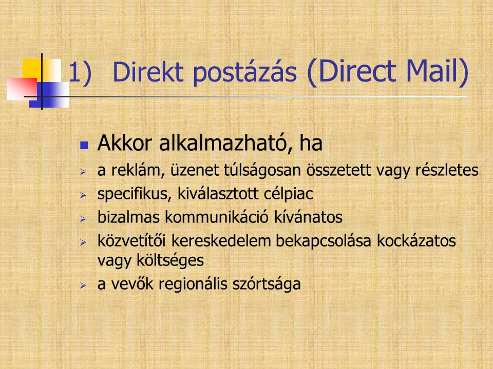 Direkt postázás (Direct Mail)