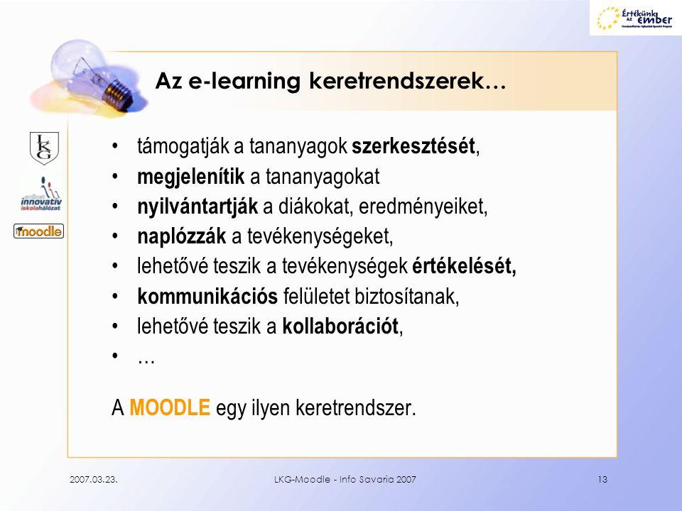Az e-learning keretrendszerek…