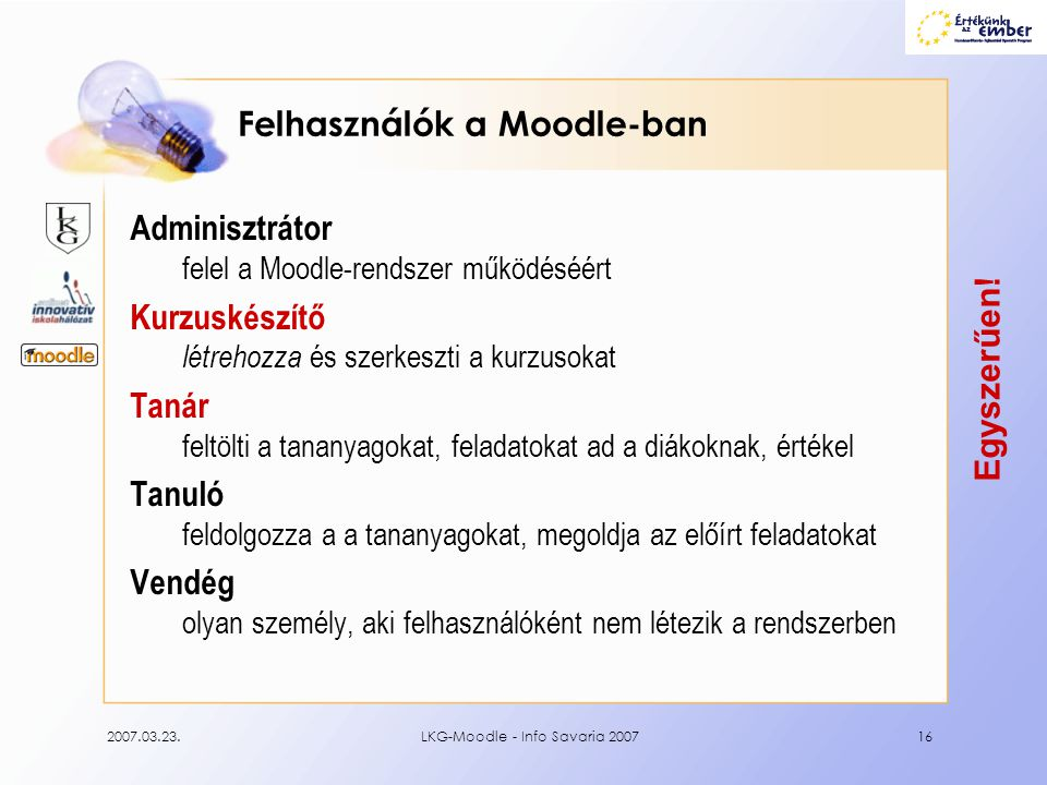 Felhasználók a Moodle-ban