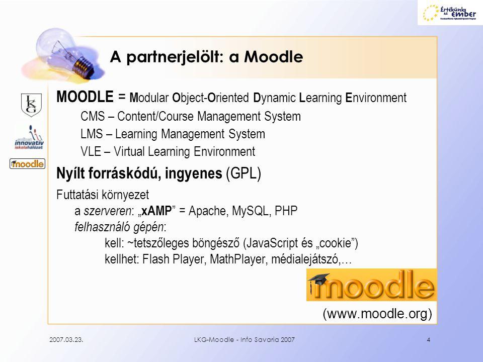 A partnerjelölt: a Moodle
