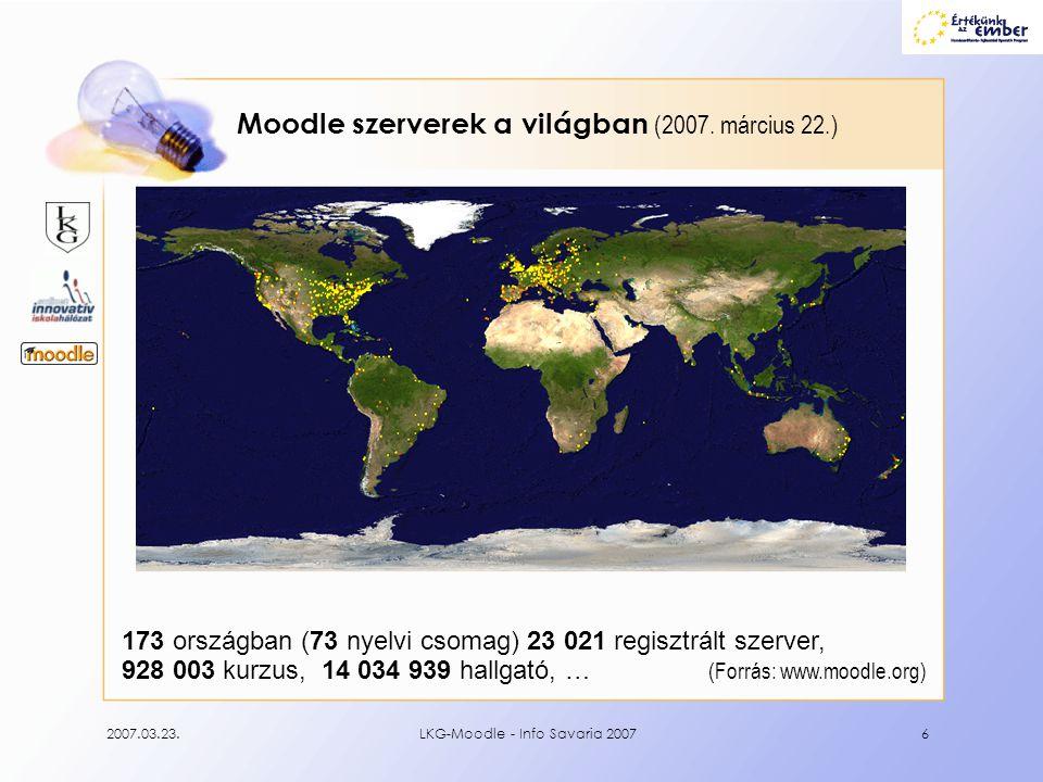 Moodle szerverek a világban (2007. március 22.)