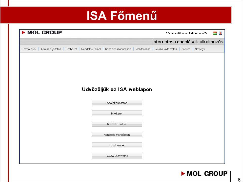 ISA Főmenű Login 2