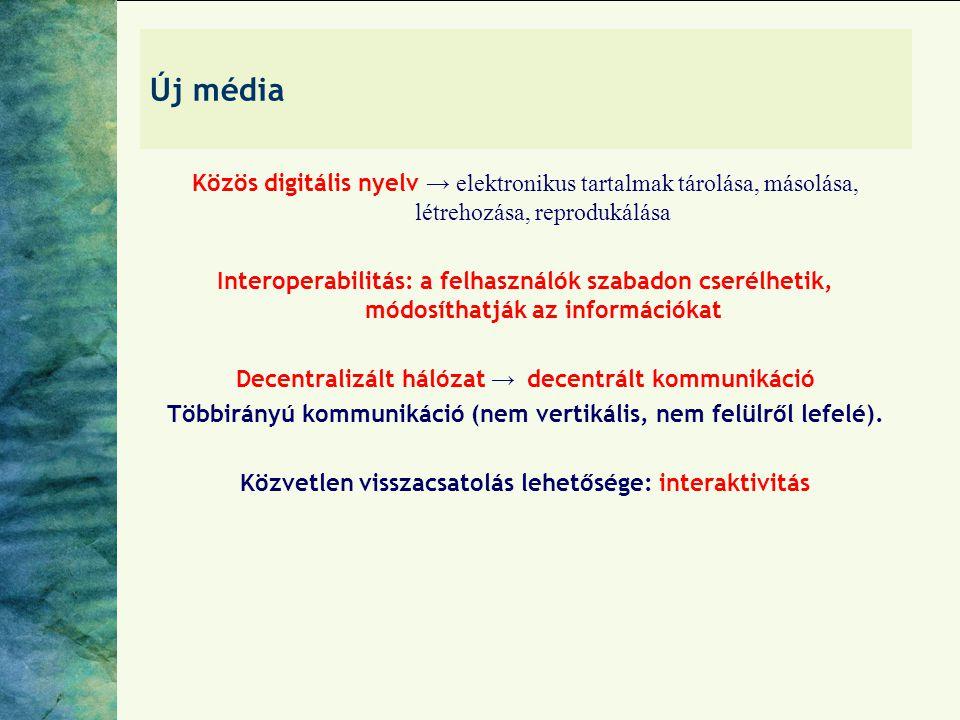 Új média Közös digitális nyelv → elektronikus tartalmak tárolása, másolása, létrehozása, reprodukálása.