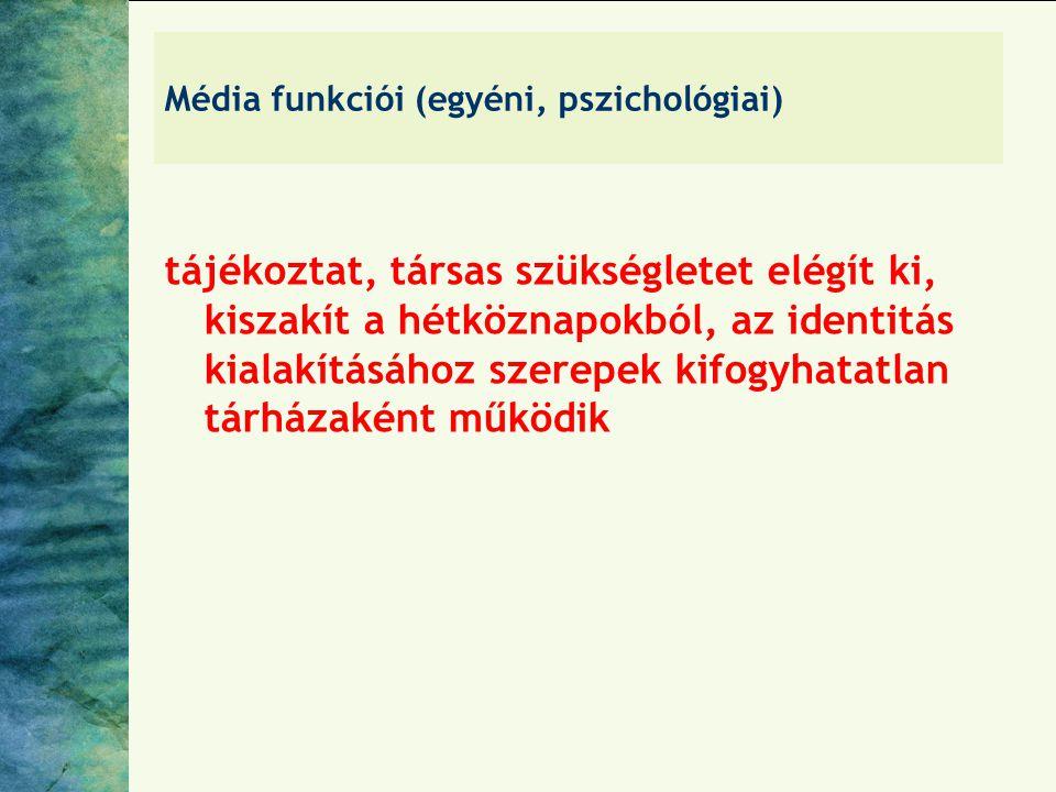 Média funkciói (egyéni, pszichológiai)