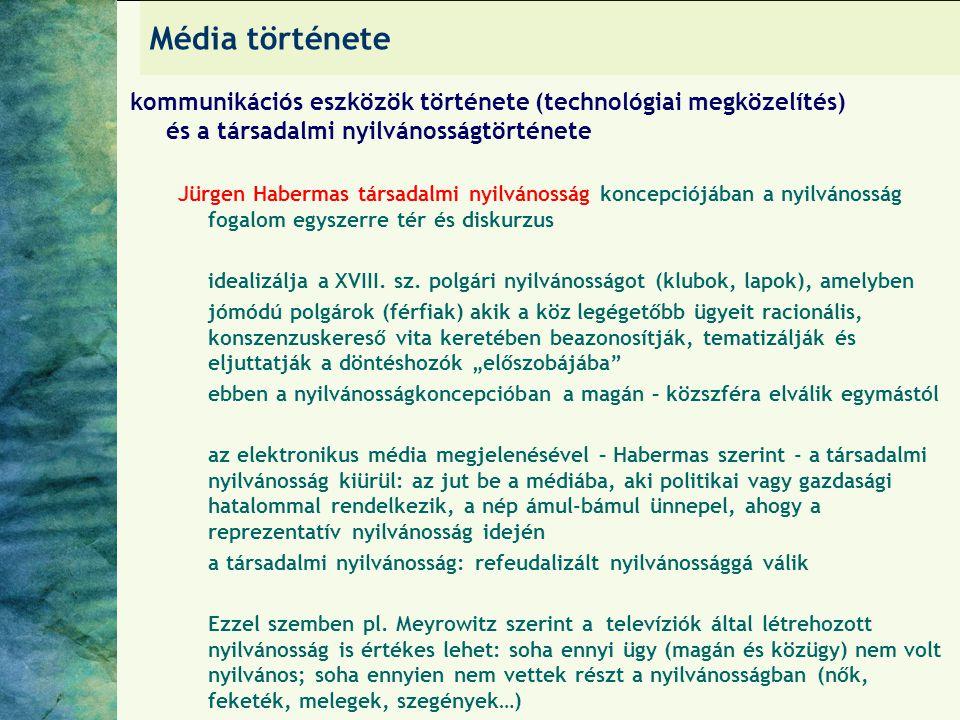 Média története kommunikációs eszközök története (technológiai megközelítés) és a társadalmi nyilvánosságtörténete.