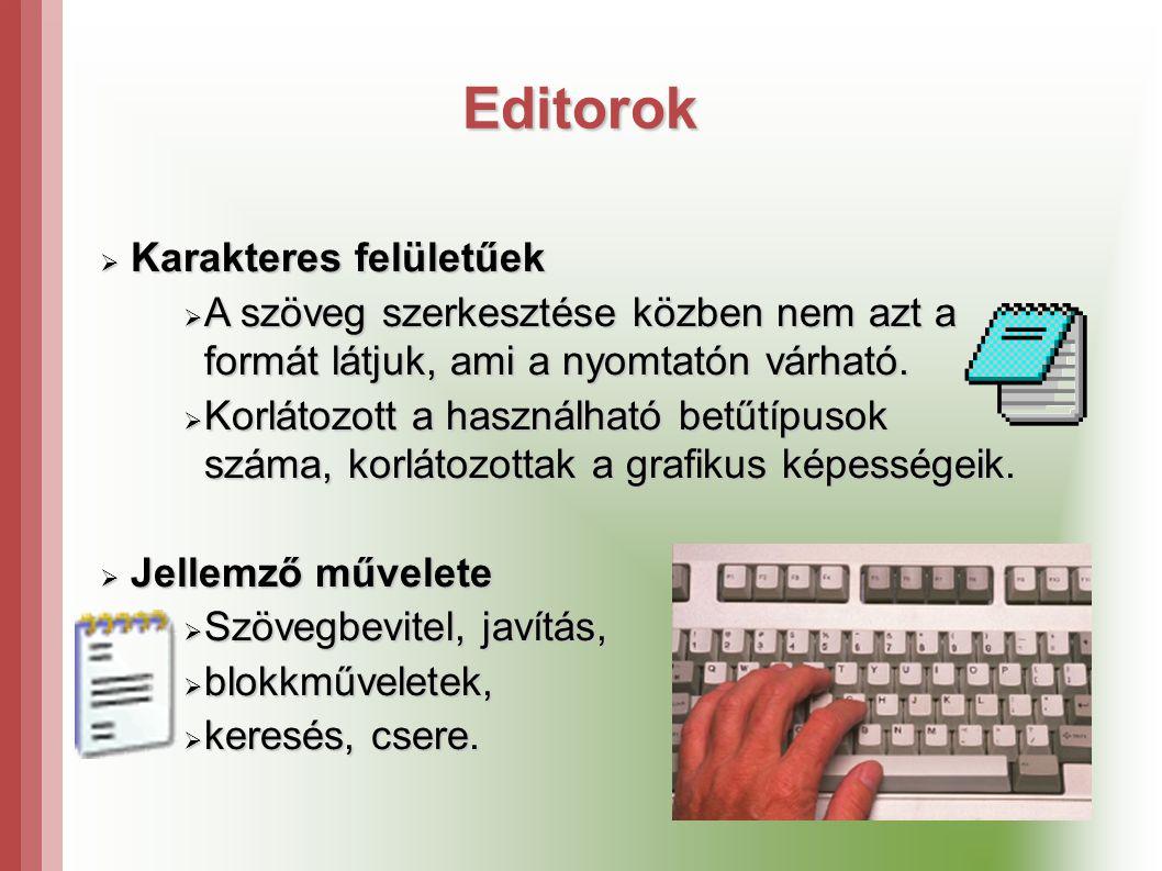 Editorok Karakteres felületűek