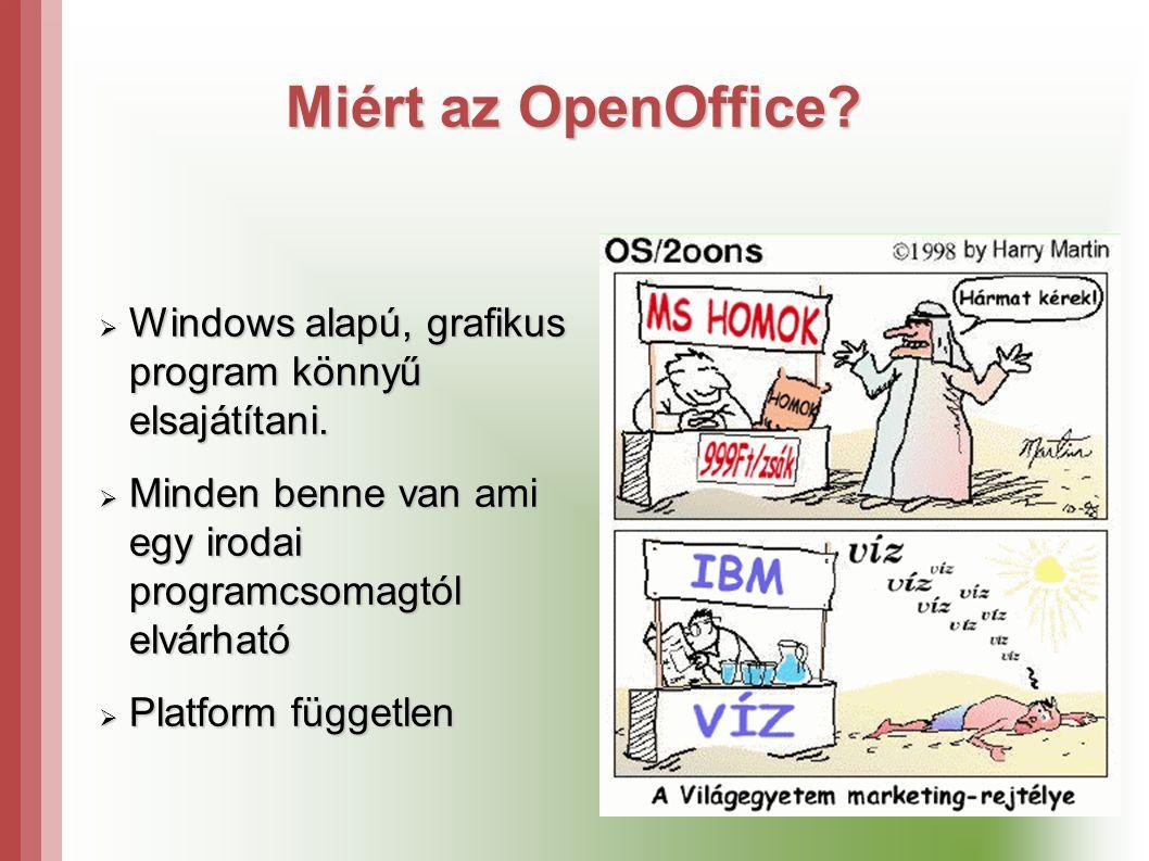 Miért az OpenOffice Windows alapú, grafikus program könnyű elsajátítani. Minden benne van ami egy irodai programcsomagtól elvárható.