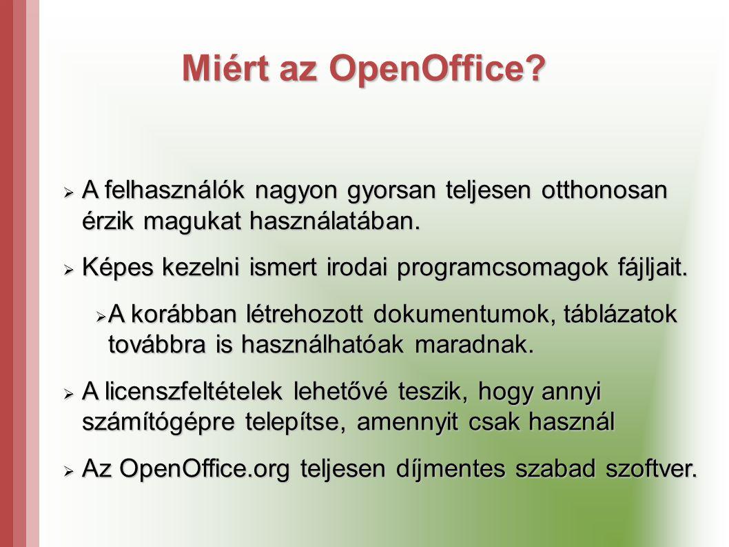 Miért az OpenOffice A felhasználók nagyon gyorsan teljesen otthonosan érzik magukat használatában.