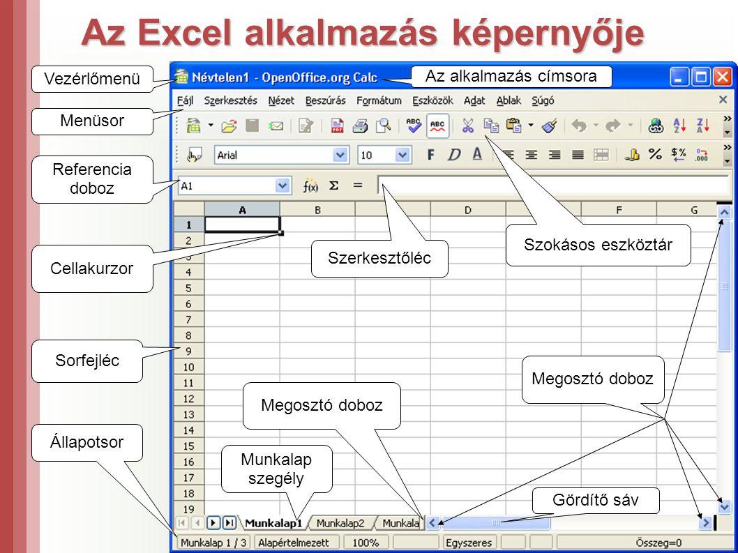 Az Excel alkalmazás képernyője