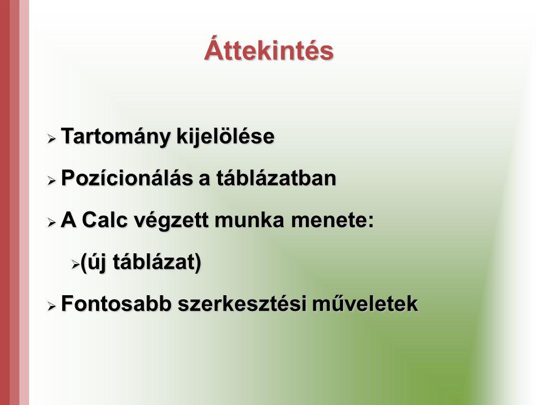 Áttekintés Tartomány kijelölése Pozícionálás a táblázatban