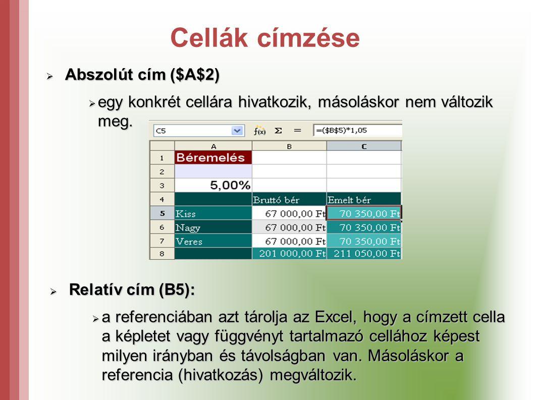 Cellák címzése Abszolút cím ($A$2)